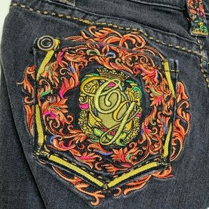 Coogi Jean Shorts Colorful Intricate Embroidery